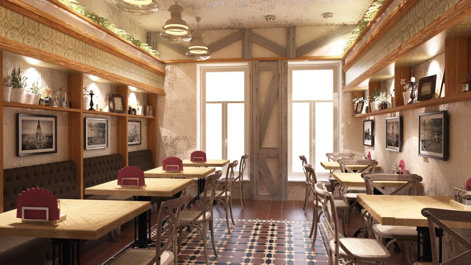 Декоративная штукатурка в оформлении интерьера кафе
